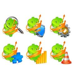 economic development icon set vector image vector image