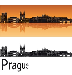 Prague skyline in orange background vector image vector image
