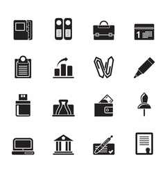 Silhouette Business and Finance Icons vector image vector image