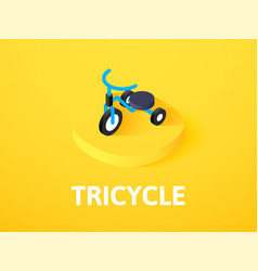 Tricycle isometric icon isolated on color vector