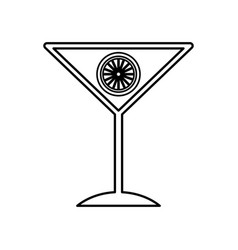 Tropical cocktail cup with orange fruit vector