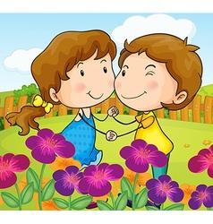 A garden with a sweet couple vector image vector image