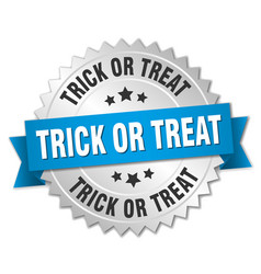 trick or treat round isolated silver badge vector image vector image