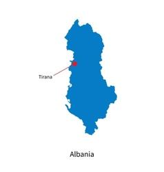 Detailed map of Albania and capital city Tirana vector image vector image