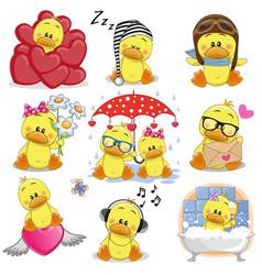 Set of cute cartoon ducks vector