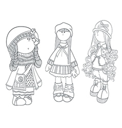 set of cute dolls coloring girl vector image vector image