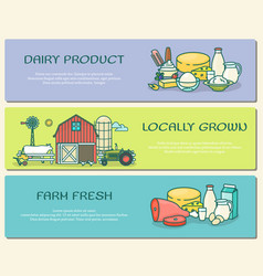 set of farm horizontal banners in flat vector image vector image