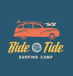 Surfing Woodie Car Retro Style Label or Logo vector image