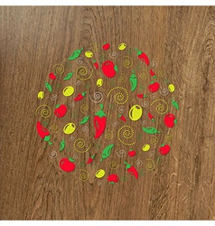 Wooden Background And Circle From Icons vector image