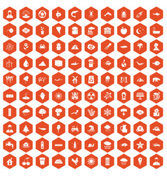 100 earth icons hexagon orange vector