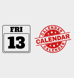 13th friday calendar page icon and grunge vector image