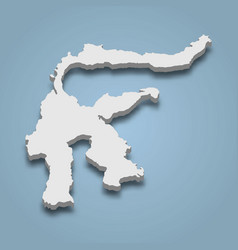 3d isometric map sulawesi is an island vector