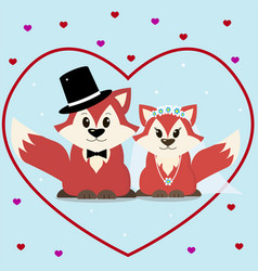 a fox marry in a cartoon style vector image