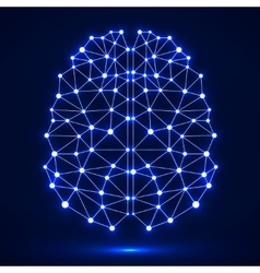 Abstract polygonal brain with glowing dots and vector image