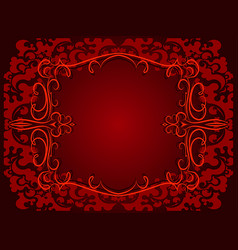 abstract red background with floral frame vector image
