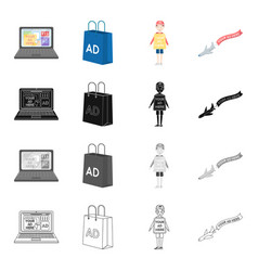 Advertising on the internet a bag with an vector