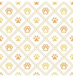 Animal seamless pattern of paw footprint line vector