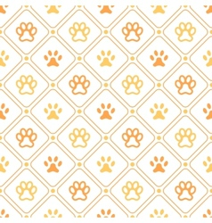 Animal seamless pattern paw footprint line and vector