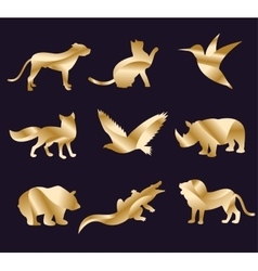 Animal zoo icons set vector
