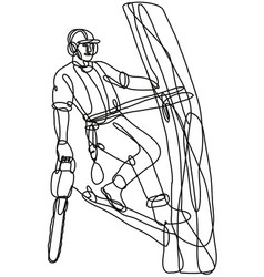 Arborist or tree surgeon climbing tree vector