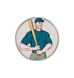 Baseball Player Batter Holding Bat Etching vector image