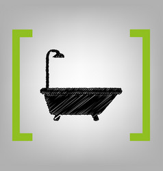bathtub sign black scribble icon in vector image