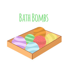 box with bath bombs cartoon flat set nature vector image
