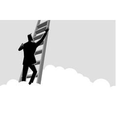 businessman climbing a ladder above clouds vector image