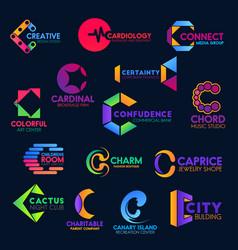 c modern geometric trendy corporate identity icons vector image