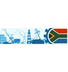 Cargo port South Africa flag in gear vector