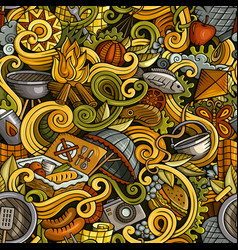 Cartoon hand-drawn picnic doodles seamless pattern vector
