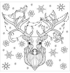 Christmas deer head doodle vector
