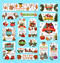 christmas holidays wishes greeting cards vector image