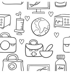 Collection of element health doodles vector