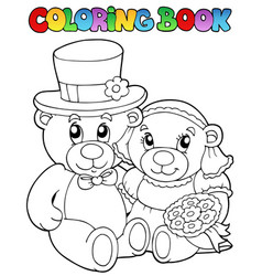 coloring book with wedding bears vector image