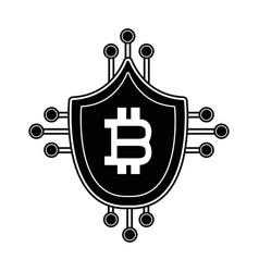 contour security shield protection with bitcoin vector image