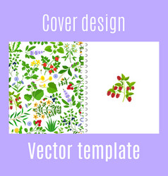 Cover design with herbs berries pattern vector