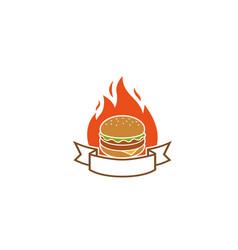 creative hamburger fire label logo design symbol vector image
