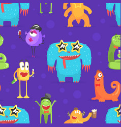 cute funny monsters characters seamless pattern vector image