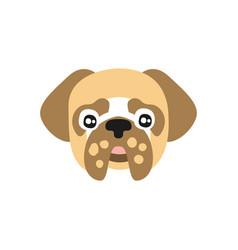 cute pug dog head funny cartoon animal character vector image