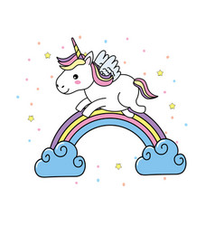 Cute unicorn with wings and rainbow with clouds vector