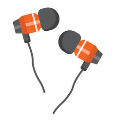 Earphones flat icon music and instrument vector