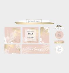 Elegant social media trendy chic gold pink blush vector