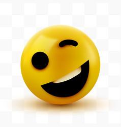 Emoji yellow winking face funny cartoon emoticon vector