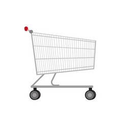 Empty metal shopping trolley vector