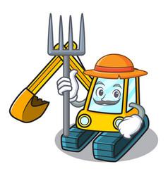 farmer excavator character cartoon style vector image