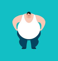 Fat angry stout guy evil emoji big man aggressive vector
