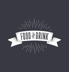 Flag food and drink old school flag banner with vector