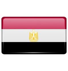 Flags Egypt in the form of a magnet on vector image