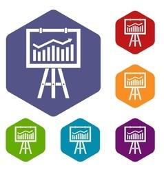 Flipchart with marketing data icons set vector